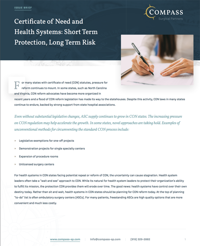 Certificate of Need and Health Systems: Short Term Protection, Long Term Risk